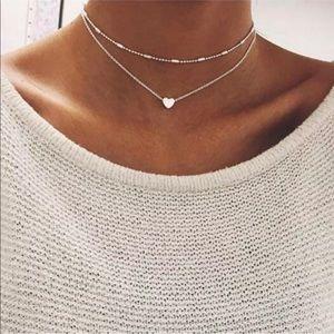 Jewelry - 2 Piece Silver Choker Set With Heart
